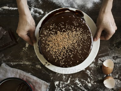 Chocolate cake food photography recipe idea