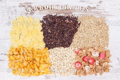 Natural food containing carbohydrates, minerals and dietary fiber, healthy nutrition concept
