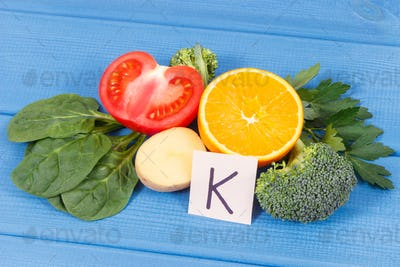 Fruits and vegetables containing vitamin K, minerals and dietary fiber, healthy nutrition