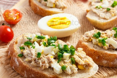 Crispy baguette or sandwiches with mackerel or tuna fish paste