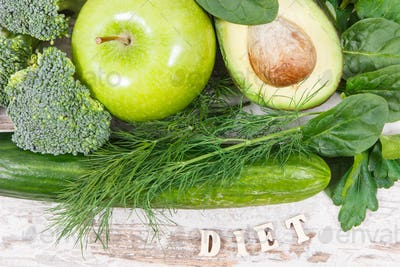 Inscription diet with fruits and vegetables containing natural minerals, vitamins and fiber