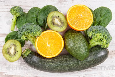 Fruits and vegetables containing vitamin K, potassium, natural minerals and dietary fiber