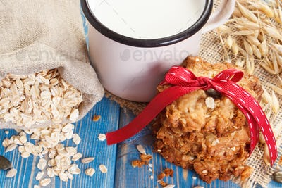 Oatmeal cookies, ingredients for baking, healthy dessert concept