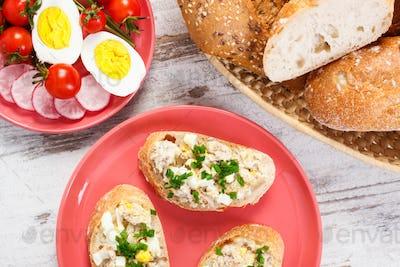 Baguette with mackerel fish paste, egg, tomato, radish and fresh rolls