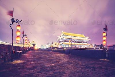 Xian city wall at night, China.