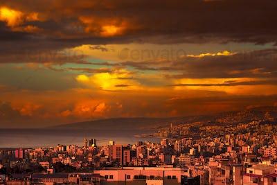 Beautiful coastal city on sunset