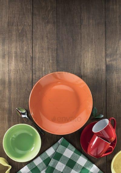 dishes set on wood