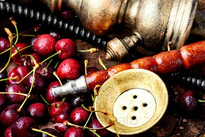 Stylish oriental shisha with cherries