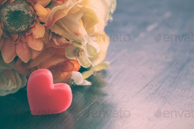 Heart with flowers of vintage