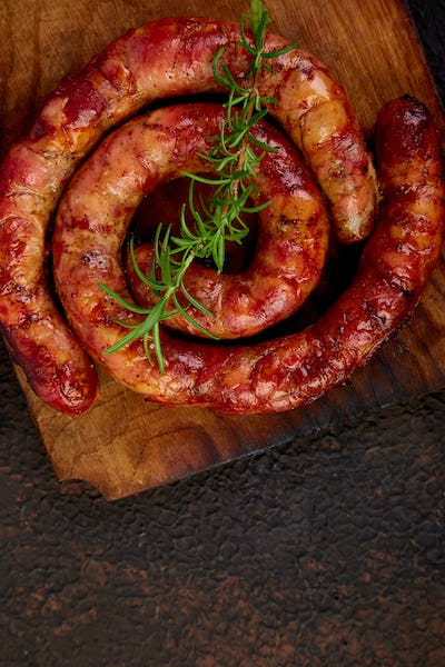 Grilled  or Roasted spiral pork sausages