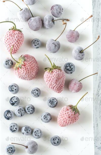 Assortment of frozen berries