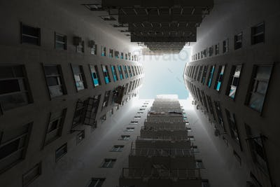 Large angle shot of rising architecture into sky