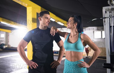 portrait of athletes at cross fitness gym