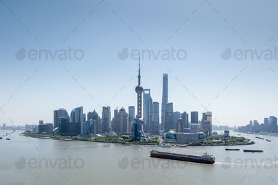 beautiful shanghai cityscape in daytime, pudong skyline and huangpu river