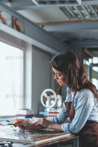 Young girl in workshop