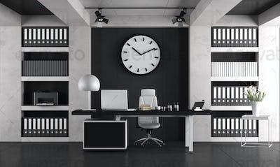 Black and white minimalist office
