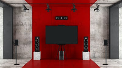 Red and black home cinema system