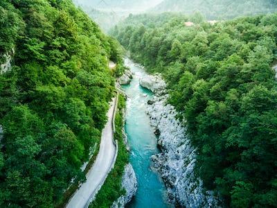 Aerial view over Soca river in Triglav Park, Slovenia