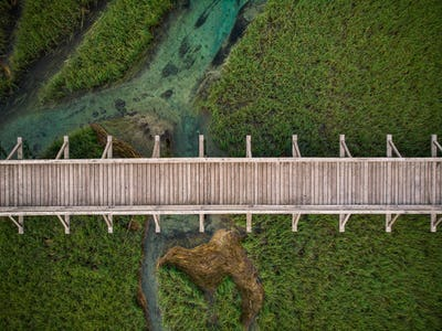 Top down aerial view over wooden footbridge in Zelenci,Slovenia