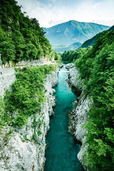 Emerald and blue waters of Soca river, Slovenia