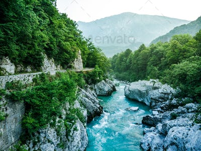 Wild and beautiful Soca river from Napoleons Bridge,Slovenia