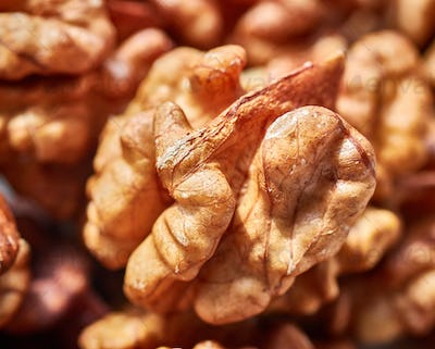 Close up picture of dried walnuts.