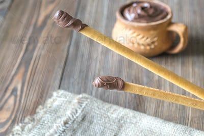 Breadsticks with chocolate cream