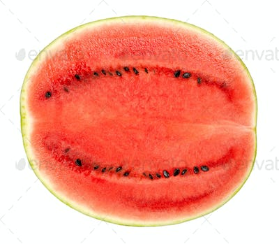 Sweet watermelon half, cross section, front view, over white