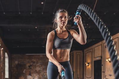 Sporty woman in the loft