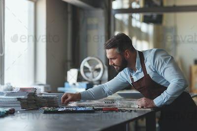 Mature man with mosaic