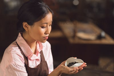 Young asian woman with green tea