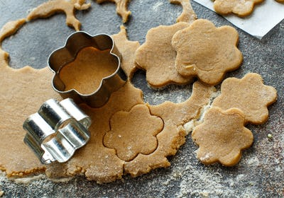 Cooking cookies with  cookie cutters