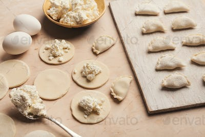 Preparing dumplings with cottage cheese, cooking russian food