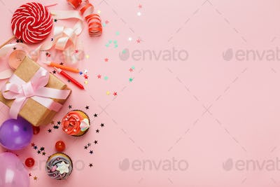 Birthday party background with gift and cakes