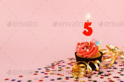 Fifth birthday cupcake with candle and sprinkles