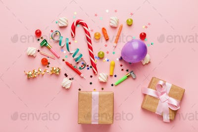 Birthday party background with gift and lollipops