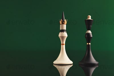 Pair of king chess pieces confronted as opposites