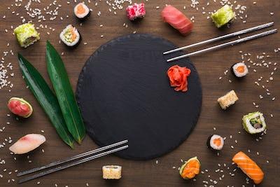 Set of sushi, maki, gunkans and rolls. Asian cuisine