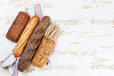 Various crusty bread and buns
