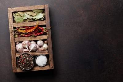 Dry spices in wooden box
