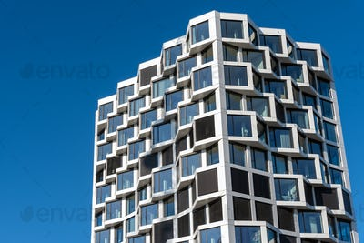 Facade of modern high-rise residential building