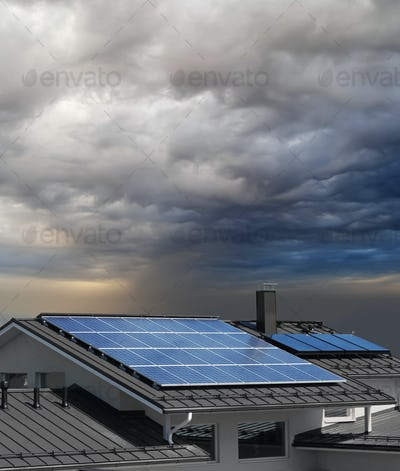 Solar panels on house rooftop