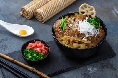 fried pork cutlet rice bowl Katsudon, Japanese food style