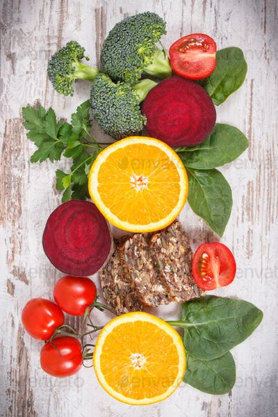 Nutritious products containing vitamin B9 and dietary fiber, healthy nutrition