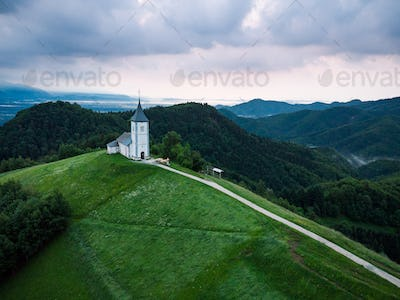 Aerial view over Lonely Chapel of  St. Primus and Felician, Jamn