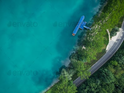 Top down aerial view over Most na Soci,Slovenia