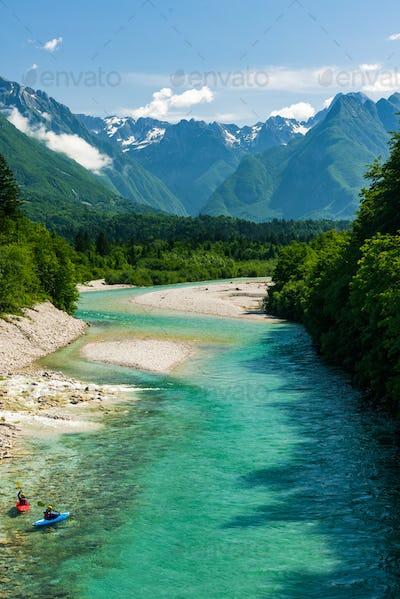 Kayaks on Soca river,Slovenia