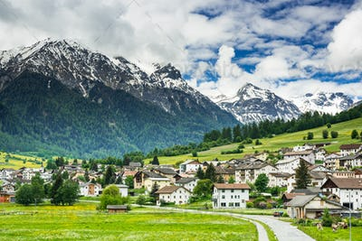 Mustair village in Switzerland Alps