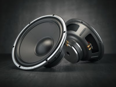 Sound speakers. Multimedia acoustic sound loudspeakers on black