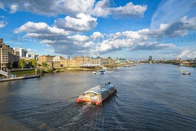 Boats on River Thames in London